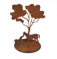 Mare and Foal under Tree Metal garden art sculpture