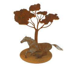 Running horse under tree Metal garden art Sculpture