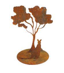 Kangaroo under tree Metal garden art Sculpture