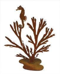 Seahorse in Kelp Metal Garden Art Sculpture