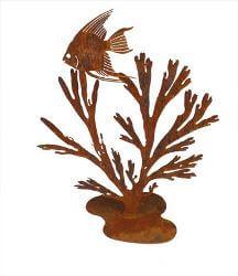 Angel Fish in Kelp Metal garden art sculpture