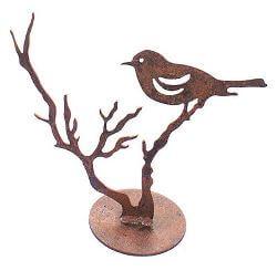 Bird on Branch Metal Garden Art Sculpture