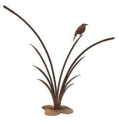 Reeds with Robin Metal Garden Art
