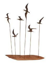 Seagull Flock Metal Garden Art