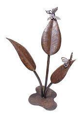 Two Stainless Steel Butterflies on Large Leaves Metal Garden Art