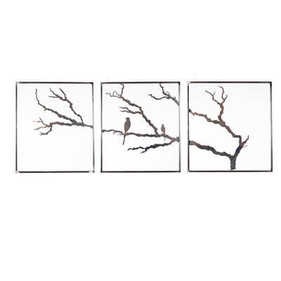 Metal Wall art by Overwrought - 3 Panel tree with birds