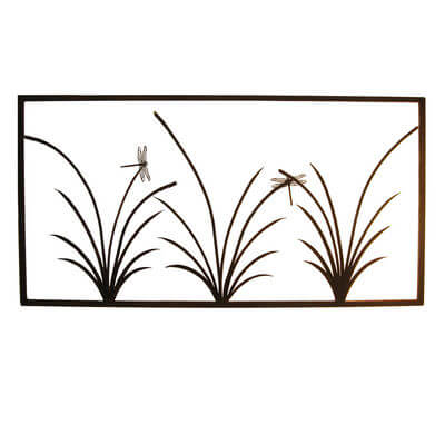 Metal Wall art by Overwrought - 3 Reed Panel Wall Art - Large