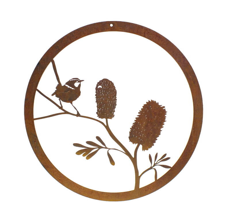 Banksia and wren metal garden wall art