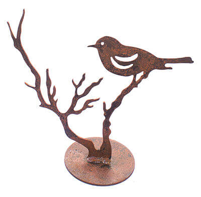 Bird on Branch Metal Garden Art Sculpture