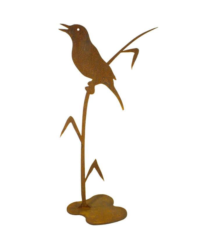 Bird on Reed Stand Garden Art