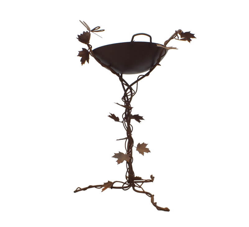 Birdbath with Maple Leaves Lotus Flower and Dragonfly