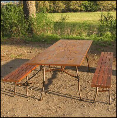Individually made outdoor Steel furniture By Overwrought - Branch table and Benches