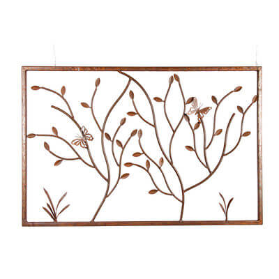 Metal Wall art by Overwrought - Butterflies on Branches Panel Wall Art