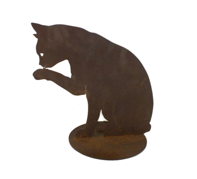 Cat Licking Paw Medium Stand Garden Art