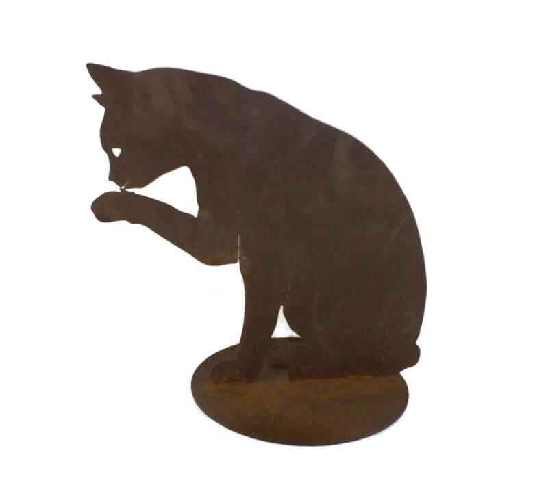 Cat Licking Paw Medium Stand Garden Art