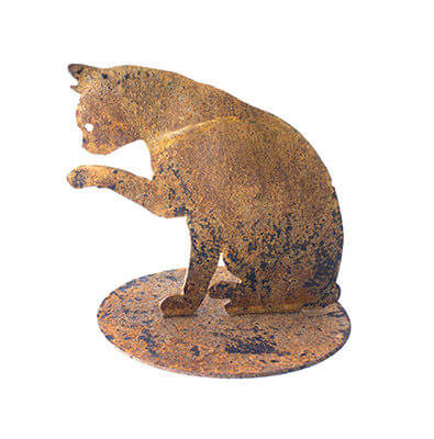 Cat Licking Paw Metal Garden Art Sculpture