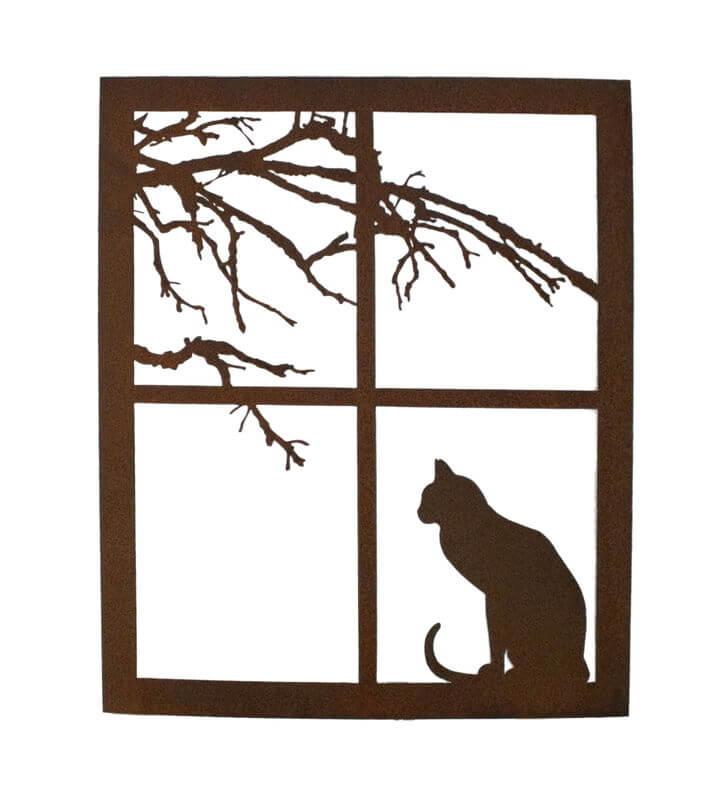 Cat on A Windowsill Garden Art