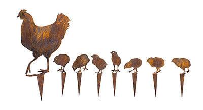 Chook with Seven Chicks   metal garden art