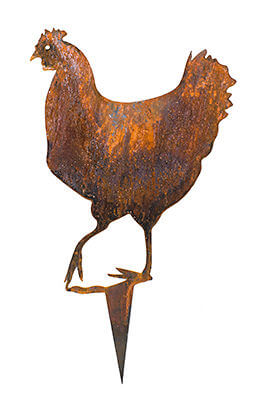 Chook with Seven Chicks   metal garden art