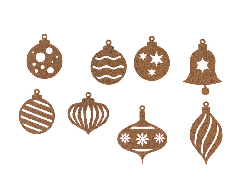 Christmas Bauble Decoration Large Set of Eight Garden Art