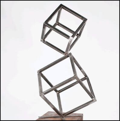 Unique Steel Garden Sculpture by Overwrought - Cubes 1 Sculpture