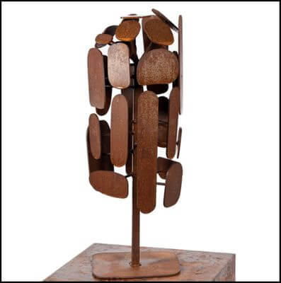 Unique Steel Garden Sculpture by Overwrought - Cubist Tree Sculpture