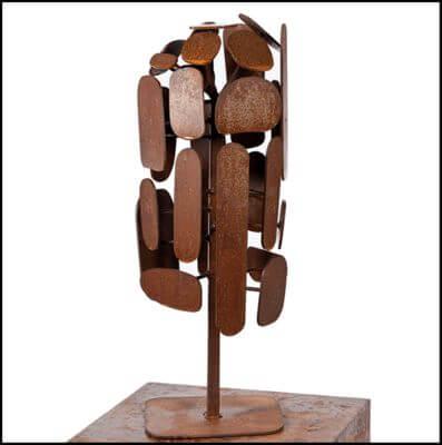 Unique Steel Garden Sculpture by Overwrought - Cubist Tree Sculpture