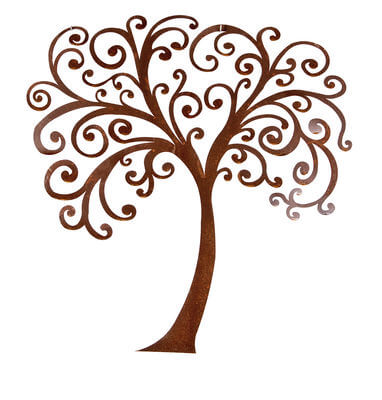 Curly Tree Wall Art mild steel garden wall art