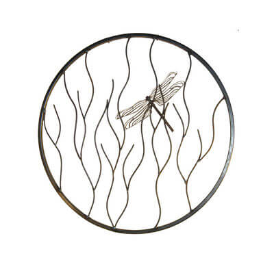Unique Steel Garden Sculpture by Overwrought - Dragonfly on Branches Round Wall Art