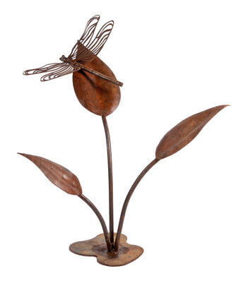 Dragonfly on Large Leaves - mild steel sculpture.