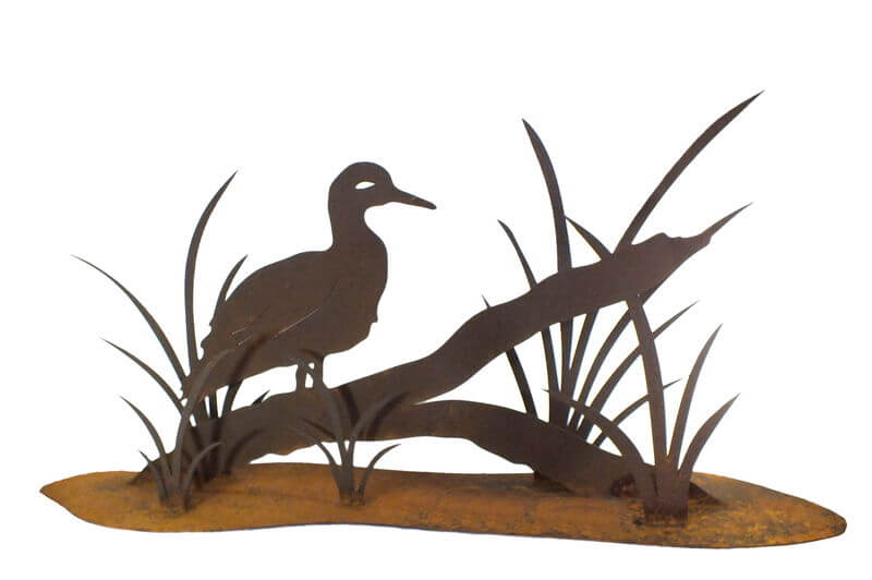 Duck on Log Stand Garden Art
