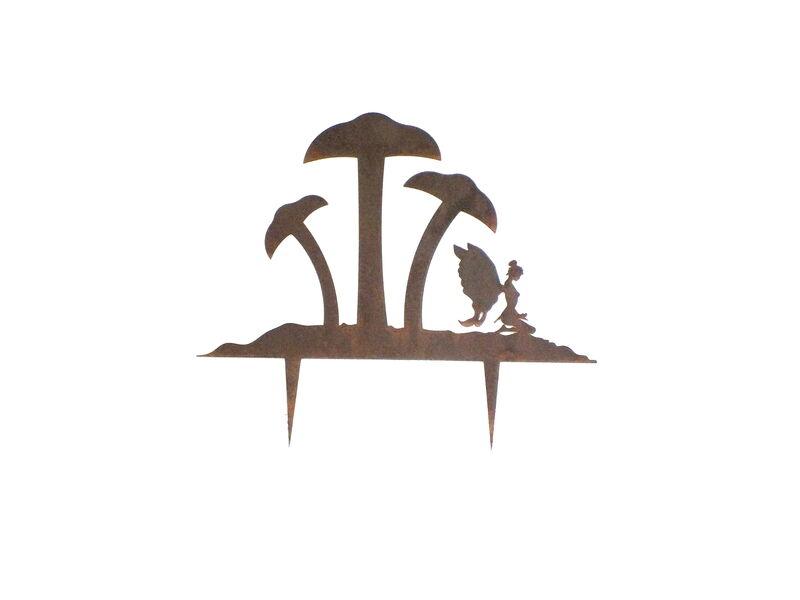 Fairy and Three Mushroom Stake Garden Art