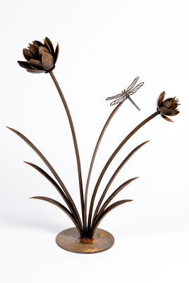 Unique Steel Garden art by Overwrought -Flower Reed with Dragonfly Garden sculpture