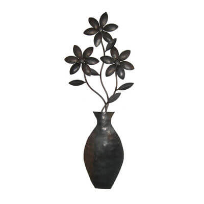 Unique Steel Garden art by Overwrought -Flower Vase Wall Art