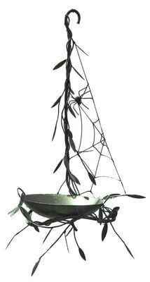 Unique Steel Garden art by Overwrought -Hanging birdbath with spider web