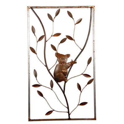 Metal Wall art by Overwrought - Koala on Tree Panel Wall Art