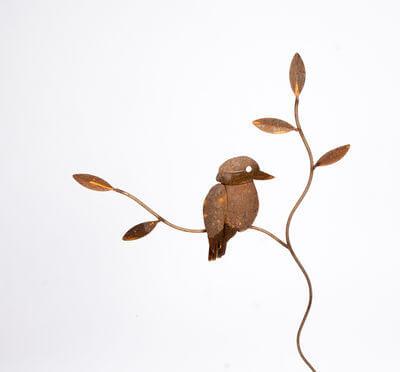 Garden stakes By Overwrought - Kookaburra on Branch Garden Stake