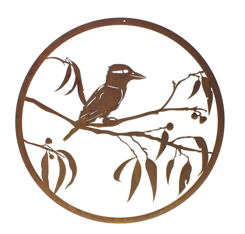 Kookaburra on Gum round metal wall art