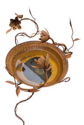 Large Birdbath  Water Feature with Wren and Lotus Flowers