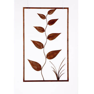 Metal Wall art by Overwrought - Large Leaves Panel Wall Art