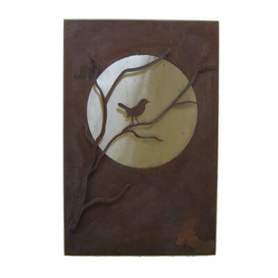 Metal Wall art by Overwrought - Moon Bird Box Wall Art