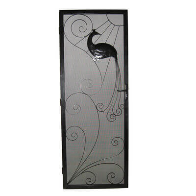 Security Screen Door by Overwrought - Peacock door