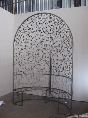 Unique Australian made wrought iron Pergola Furniture By overwrought - Pergola Seat