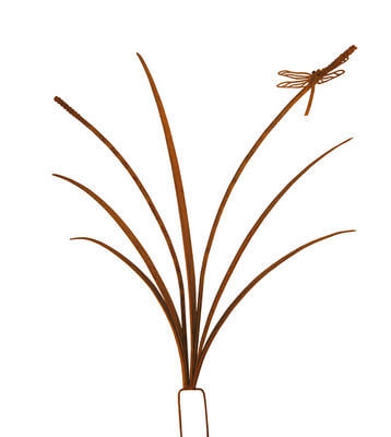 Unique Steel Garden art by Overwrought -Reed stake with Dragonfly - medium