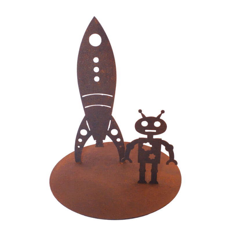 Rocket and Robot Stand Garden Art