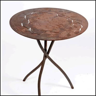 Individually made outdoor Steel furniture By Overwrought - Round Branch Tabl