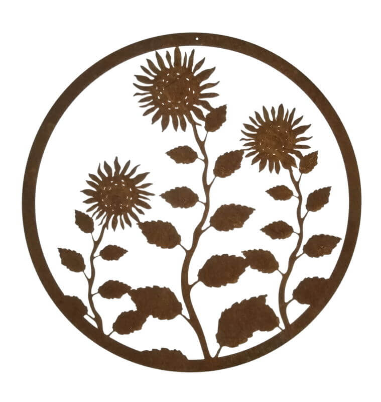 Round Sunflower wall art