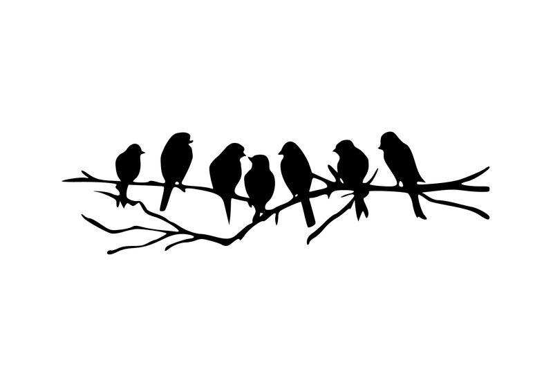 Seven  Birds Wall Art in Black