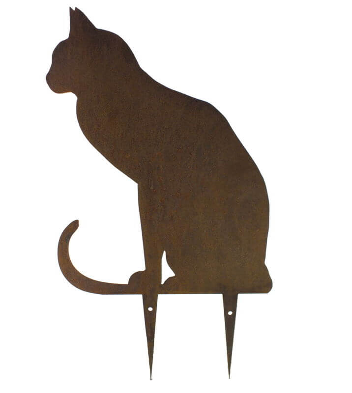 Sitting Cat 2 Wedge Stake Garden Art