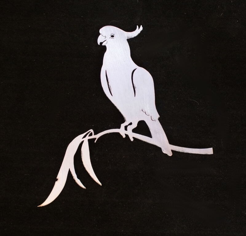 Stainless Steel Cockatoo on Branch Magnet Garden Art